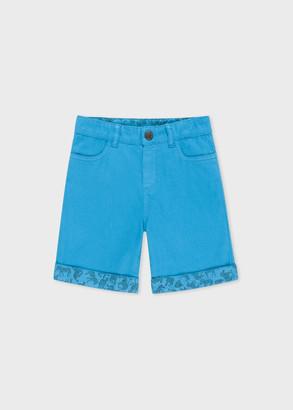 Paul Smith 8+ Years Blue Shorts With Zebra Trim