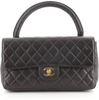 Chanel Twin Top Handle Flap Bag Quilted Lambskin Medium