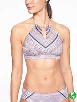 Athleta Aqualuxe Print High Neck Keyhole Bikini