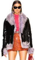 Sandy Liang Bowery Moto Jacket With Lamb Shearling
