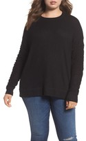 Caslon Plus Size Women's Ruched Sleeve Cozy Pullover