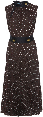 Prada Button-Detailed Polka-Dot Crepe De Chine Midi Dress