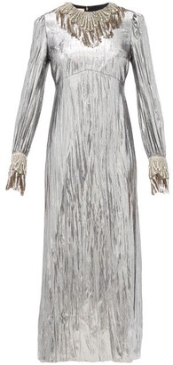 Gucci Crystal-embellished Lame Dress - Silver