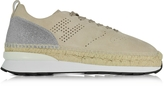 Hogan Beige Perforated Suede Lace Up Sneakers w/Glitter