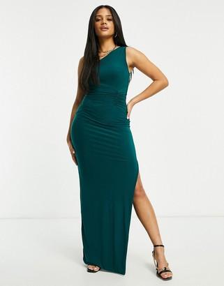 Club L London one shoulder maxi dress in emerald green