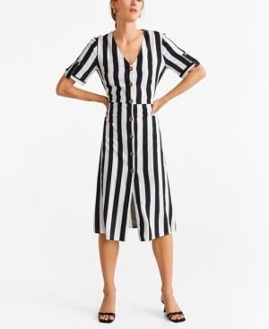 MANGO Buttoned Striped Dress