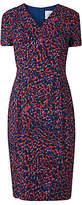 LK Bennett L.K.Bennett Dr Bertie Leopard Print V Neck Shift Dress, Red/Navy