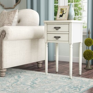 Three Posts Zuri Solid Wood 2 Drawer End Table Color: White