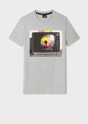 Paul Smith Men's Slim-Fit Grey 'TV Eye' Print Organic-Cotton T-Shirt