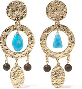 Oscar de la Renta Gold-plated, Turquoise And Faux Wood Clip Earrings - one size