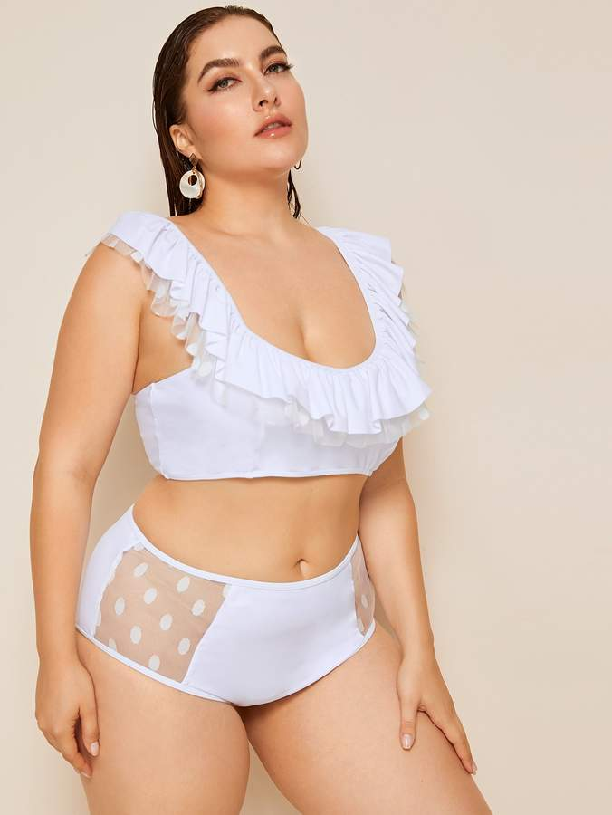 Shein Plus Tiered Layer Top With Contrast Mesh Bikini Set