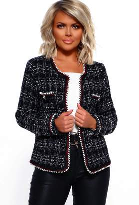 Pink Boutique Undefeated Black Tweed Jacket With Jewel Buttons