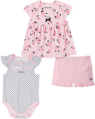 Calvin Klein Jeans Girls' Infant Bodysuits ASSORTED - Pink Floral Babydoll Top Set - Infant