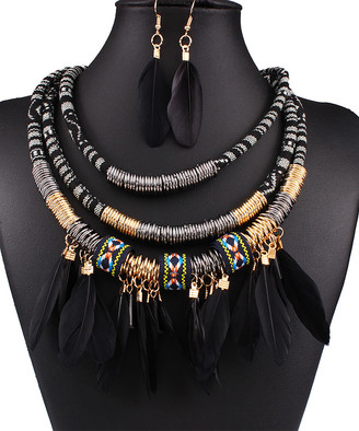 Ella & Elly Women's Necklaces Black - Black & Goldtone Feather Statement Necklace & Drop Earrings