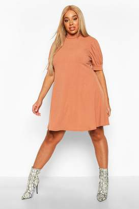 boohoo Plus Soft Rib Puff Sleeve Swing Dress