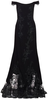 Rene Ruiz Collection Lace Crepe Off-The-Shoulder Mermaid Gown