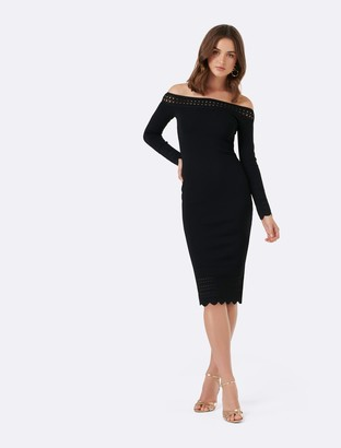 Forever New Lydia Scallop Hem Bardot Dress - Black - 4