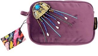 Laines London Aubergine Velvet Bag With Crystal Jellyfish Brooch