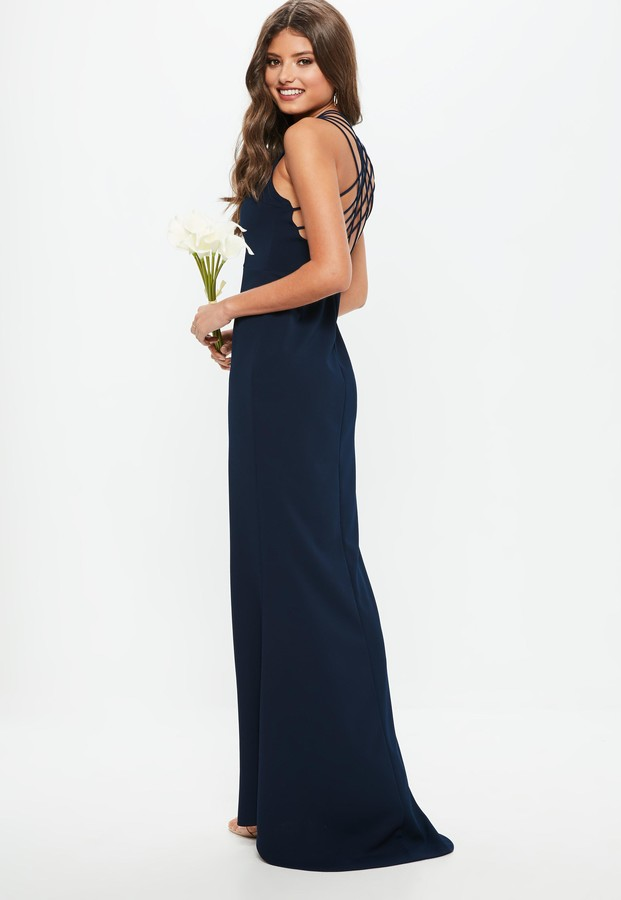 Missguided Bridesmaid Navy 90S Neck Strappy Fishtail Maxi Dress