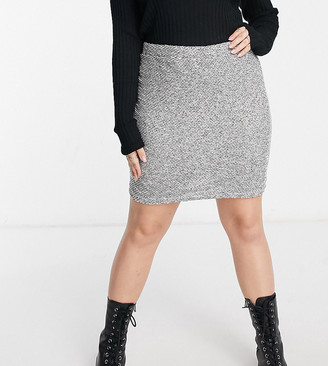 ASOS DESIGN Curve mini skirt in boucle sand and black