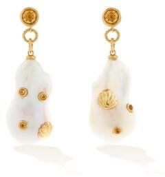 Yvonne Léon Citrine, Pearl & 9kt Gold Drop Earrings - Pearl