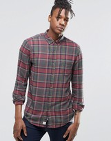 Pull&Bear Lightweight Check Shirt In Khaki And Red In Regular Fit