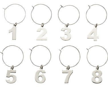 Crate & Barrel Numbers Wine Charms