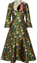 Erdem Geneva Cutout Pleated Jacquard Midi Dress - Green