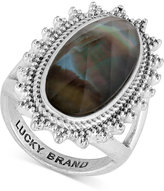 Lucky Brand Silver-Tone Mother-of-Pearl-Look Statement Ring