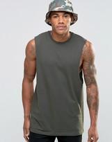 Asos Longline Sleeveless T-Shirt With Dropped Armhole In Khaki
