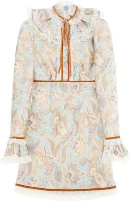 Zimmermann LADYBEETLE MINI DRESS WITH LACE 1 Beige, Light blue, Brown Wool, Silk