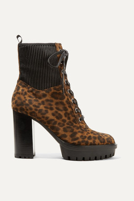 Gianvito Rossi 90 Leather-paneled Leopard-print Suede Ankle Boots - Leopard print