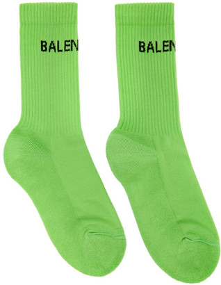 Balenciaga Green Logo Tennis Socks