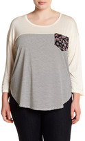 Hip Long Sleeve Stripe Print Pocket Tee (Plus Size)