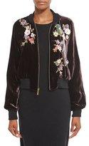 Nanette Lepore Embellished Velvet Bomber Jacket, Wine/Multi