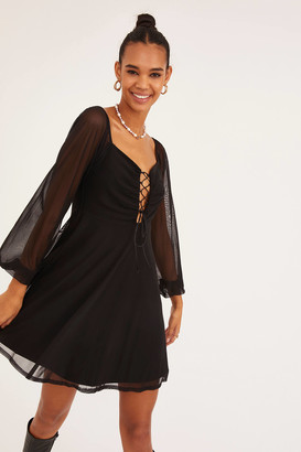Urban Outfitters Lace-Up Balloon Sleeve Mini Dress
