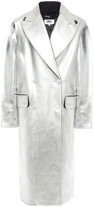 MM6 MAISON MARGIELA Double-breasted Metallic Coated Wool-blend Coat