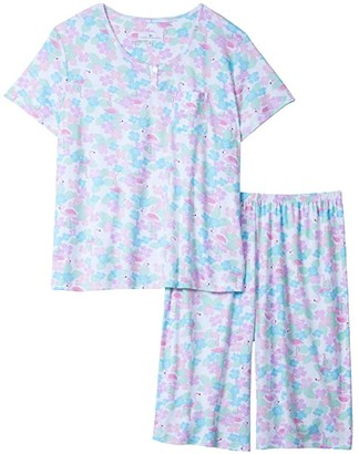 Karen Neuburger Plus Size Tropical Capsule Short Sleeve Pullover Bermuda Pajama (Caribbean Queen White) Women's Pajama Sets