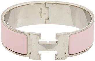 Hermes Palladium-Plated & Pink Enamel Wide Clic-Clac H Bracelet