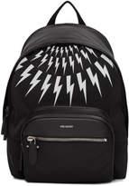 Neil Barrett Black and White Thunderbolt Flap Backpack