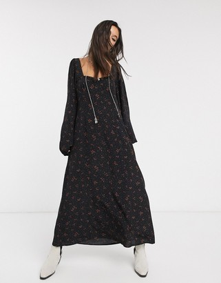Free People iris printed midi dress-Black