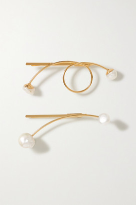 LELET NY Some Artist Guy Set Of Two Gold-plated Pearl Hair Slides - one size