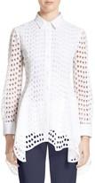 Lela Rose Women's Silk & Cotton Eyelet Peplum Shirt