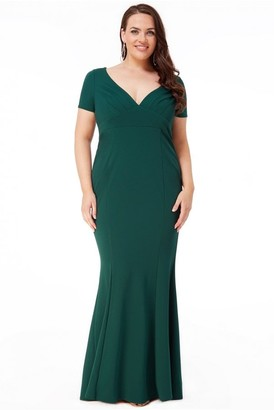 Goddiva Plus Sweetheart Neck Maxi Dress - Emerald