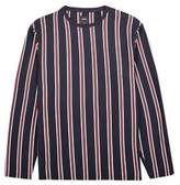 Burton Mens Big & Tall Navy And Orange Vertical Striped T-Shirt