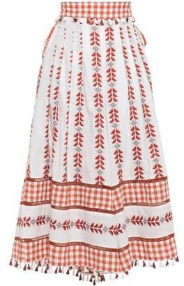 Dodo Bar Or Haylee Tasseled Pleated Cotton-jacquard Wide-leg Pants