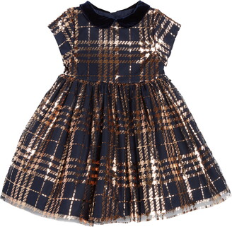 Pippa & Julie Plaid Foil Mesh Velvet Collar Dress