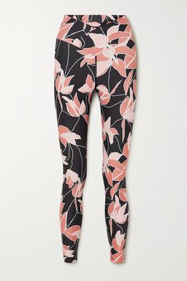 Beach Riot Cara Floral-print Stretch Leggings - Black