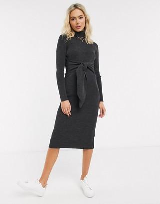 Asos Design DESIGN high neck dress with tie waist detail-Grey