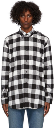 Balenciaga Black and White Flannel Tab Logo Shirt